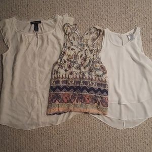 White Blouses colorful pattern tops